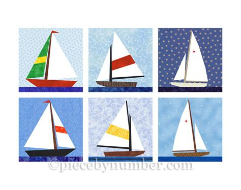 Boat Quilt Block Pattern by Sailboat Quilt Blocks Paper Pieced Quilt Pattern Instant