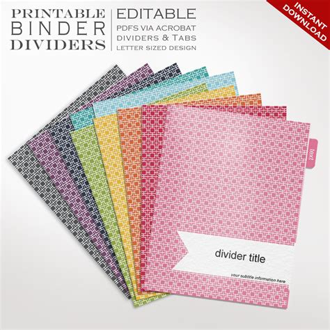 binder dividers printable binder dividers editable rainbow