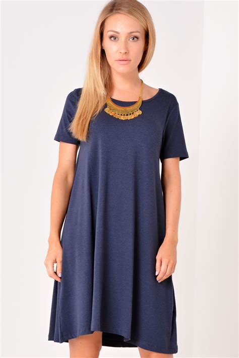 short sleeve swing dress vila katie short sleeve swing dress in navy iclothing