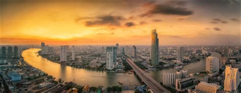 landscape river bangkok city time bird view stock