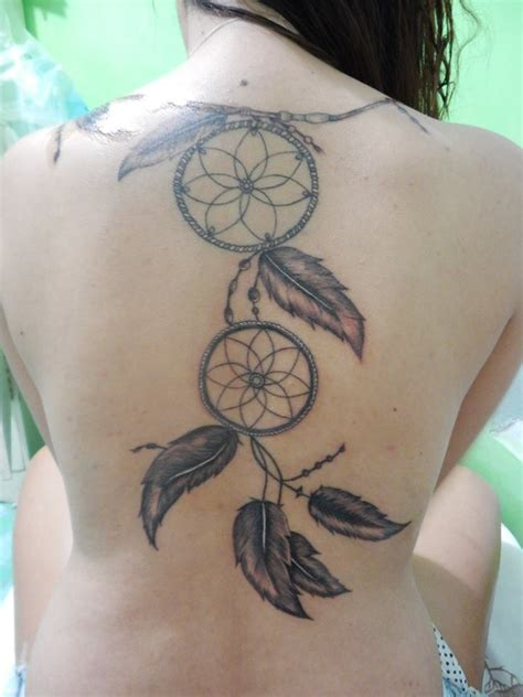 dreamcatcher tattoo down back dreamcatcher tattoo on back
