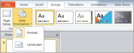 change the page orientation in powerpoint between