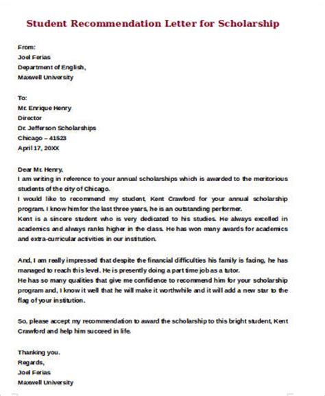 Letter Of Recommendation For Student Scholarship Pdf Sle Student Recommendation Letter 8 Exles In Word Pdf