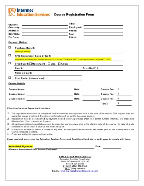 course application form template course registration form