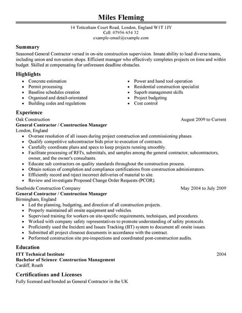 construction resume exles and sles general contractor resume best template collection