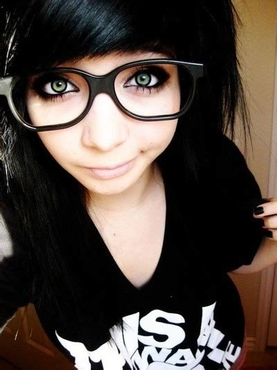 emo hairstyles with glasses black black hair emo girl glasses image 139854 on