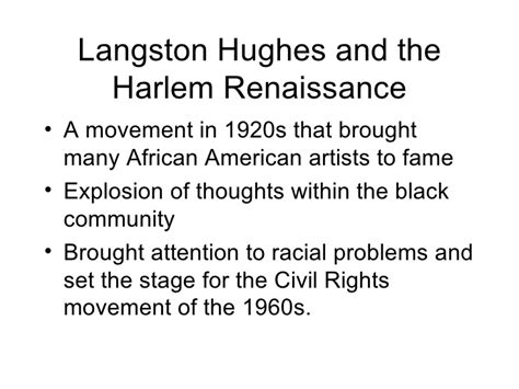 themes in literature of the harlem renaissance langston hughes