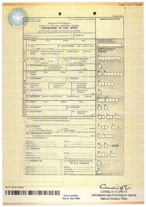 Birth Certificate Document Number