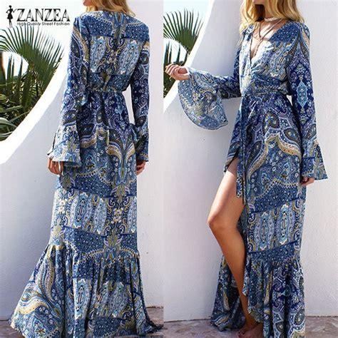pattern dress boho boho maxi dress vintage flare long sleeve green girl style