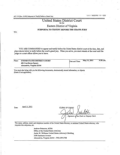 certification letter for subpoena fbi serves grand jury subpoena likely relating to