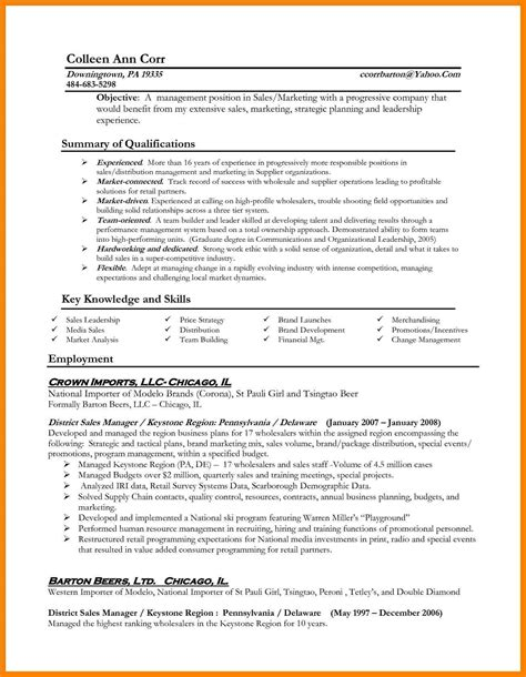 Resume Exles For Sales Directors management resumes sles 28 images professional