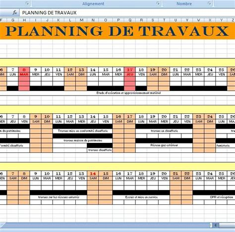 mod 232 le planning travaux de construction xls cours de