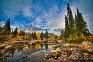Creek with mountain view at grand teton national park wyoming