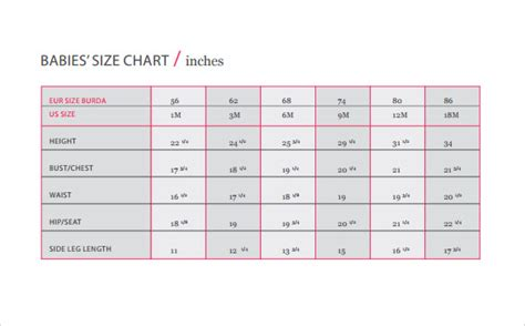 baby size chart template baby size chart templates 9 free documents in
