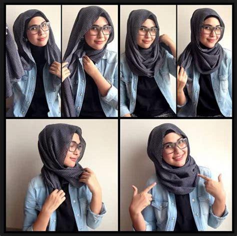 tutorial gambar cara hijab gambar tutorial hijab modern casual