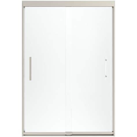 Glass Door Texture Sterling Finesse 47 5 8 In X 70 1 16 In Heavy Sliding Shower Door In Nickel With Clear Glass