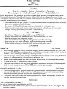 Equity Trader Sle Resume by Options Trader Resume