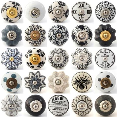 black ceramic cabinet knobs black white grey vintage ceramic knobs pull