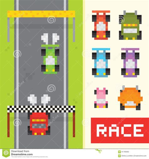 pixel race race game objects in pixel art style stock vector image