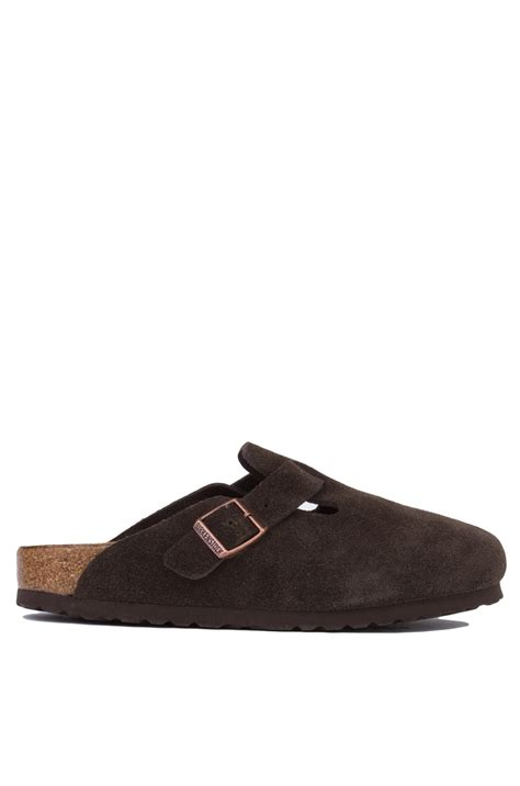Soft Bed Birkenstocks by Birkenstock Mocha Suede Soft Bed Boston Clogs In Brown Lyst