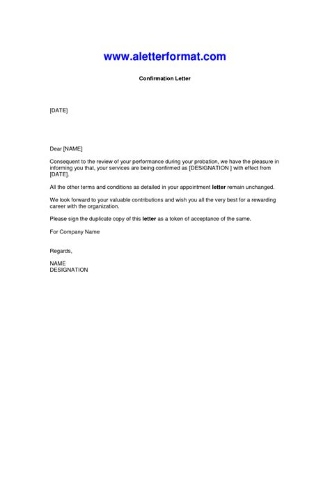Confirmation Letter Exle Letter Of Confirmation Format Best Template Collection
