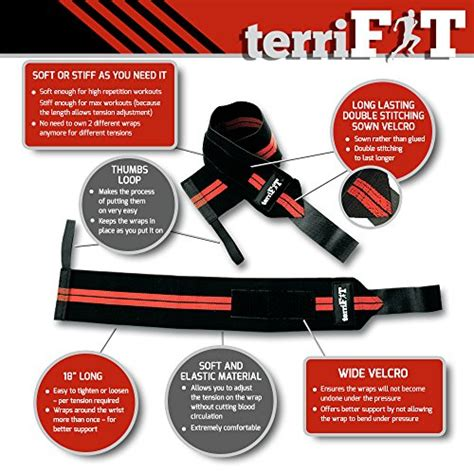 bench press wrist support wrist wraps by terrifit weight lifting wrist wraps with thumb loop 18 quot long