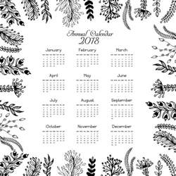 2018 Calendar Free 2018 Calendar Leaves Design Vector Free