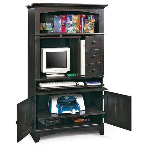 Sauder Arbor Valley Computer Armoire Antiqued Black Paint Computer Armoire Walmart