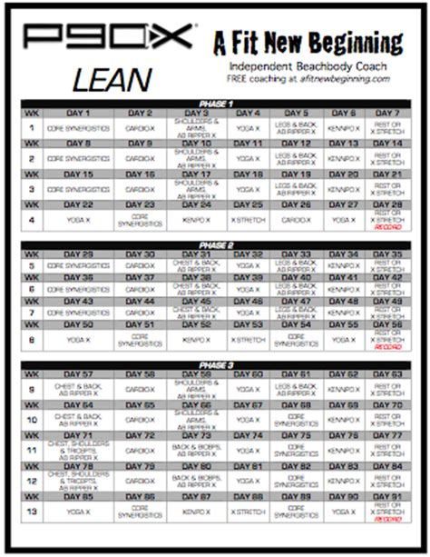 p90x lean routine schedule | this p90x lean workout