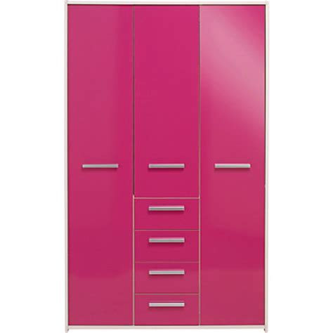 sywell 3 door 4 drawer wardrobe white and pink gloss at