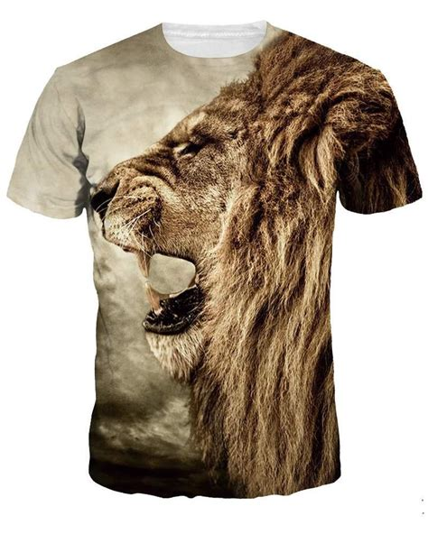 Kaos 3d Fullprint Premium Skin Jaket 1 roar pattern design personality style neck 3d painted t shirt for