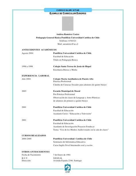 Modelo Curriculum Vitae Chile 2018 Documento Cv
