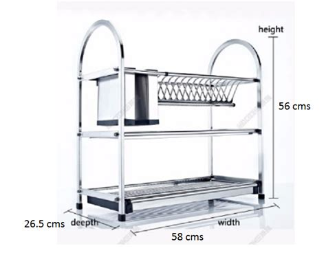 3 tier stainless steel dish plate cutlery rack kitchen