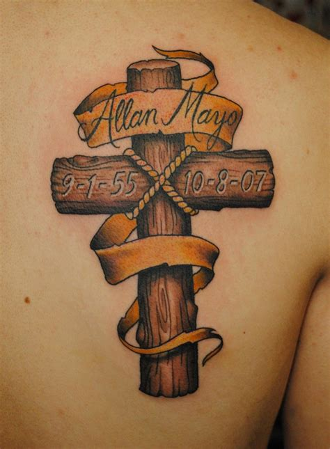 cross with banner tattoo woodgrain cross stuff to try cross