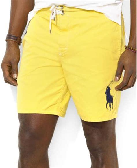 ralph lauren polo big  tall sanibel swim shorts  yellow  men trainer yellow lyst