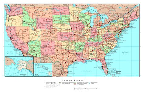 us map with big cities large detailed political and administrative map of the usa