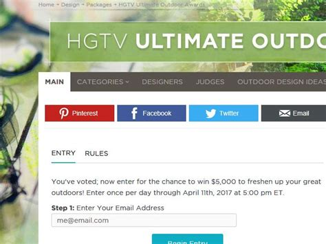 Hgtv Backyard Giveaway - hgtv ultimate outdoor awards giveaway sweepstakes