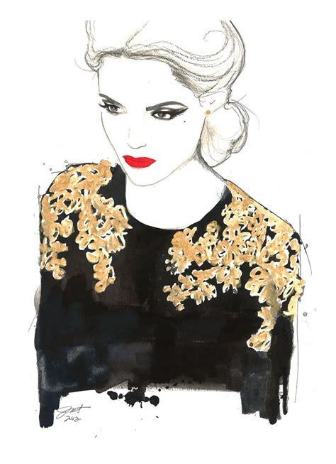 fashion illustration watercolor original watercolor and pen fashion illustration by