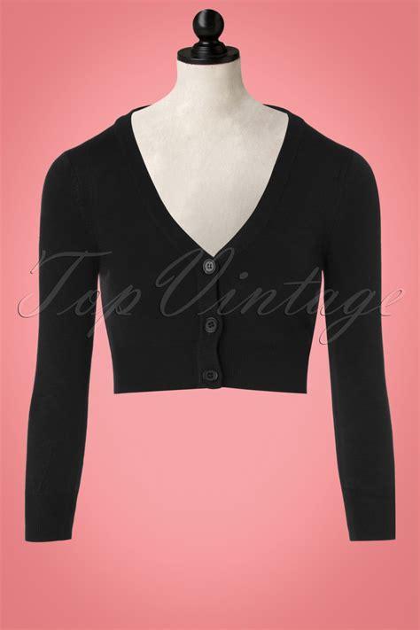 50s shela cropped cardigan in black