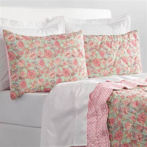 Reversible Quilt Aqua And Pink Ilsa Floral Reversible Quilt World Market