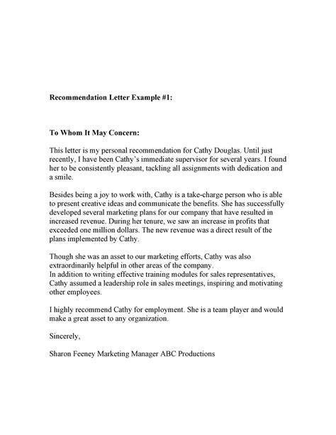 reference letter format concern letter