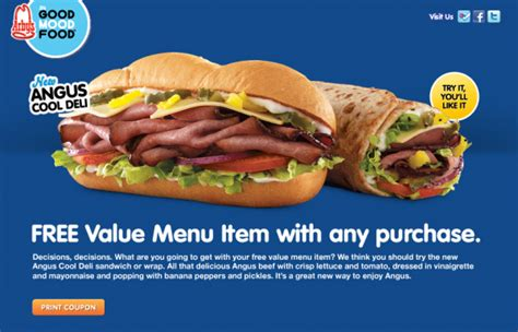 Arby's: Free value menu item with any purchase coupon ... Arby S Menu Prices