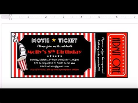 cinema ticket template word how to make invitation with ms word theater ticket