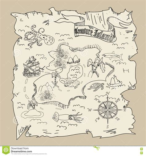 cursed pirate coloring book books treasure island map coloring page stock illustration