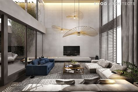 A Luxury Apartment With A Double Height Ceiling Height Ceiling Living Room