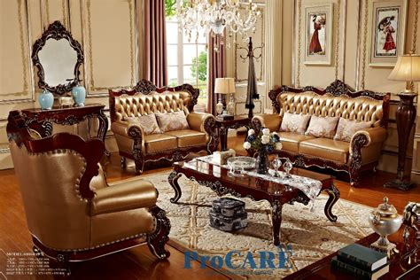 Usa Red Solid Wood Golden Yellow Genuine Leather Sofas Set Solid Wood Living Room Furniture Sets