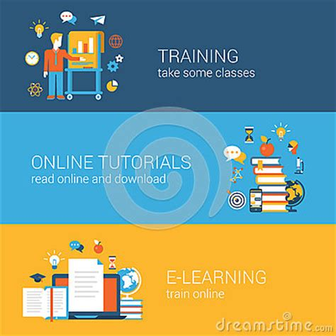 online tutorial website templates flat education training online tutorial e learning