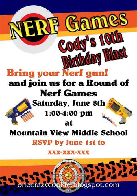32 Best Nerf Party Images On Pinterest Birthdays Anniversary Ideas And Birthday Ideas Nerf Invitation Template Free