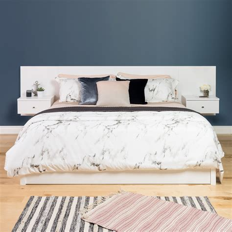 King Floating Headboard Prepac Manufacturing Ltd Floating King Headboard With Nightstands White
