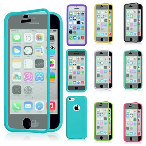 iphone 5c cases for apple iphone 5c tpu wrap up phone cover with built in screen protector ebay